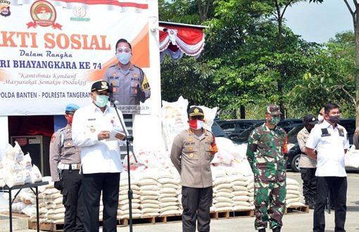 Bupati Zaki Jadi Inspektur Apel Baksos HUT Bhayangkara di Polresta Tangerang
