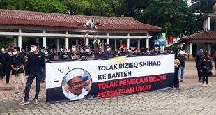 Massa Ormas Banser dan Lapbas Gelar Aksi Tolak Habib Rizieq Datang ke Banten