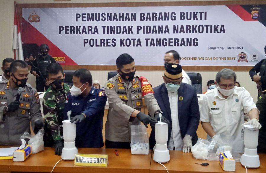 Polresta Tangerang Musnahkan 4,2 Kilogram Sabu Barang Bukti Hasil Tangkapan
